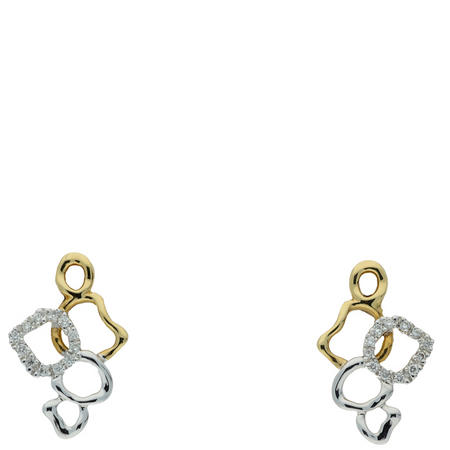 18ct 2-tone gold diamond set earrings