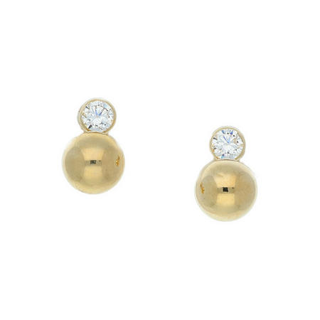 9ct Gold CZ And Gold Ball Drop Earring