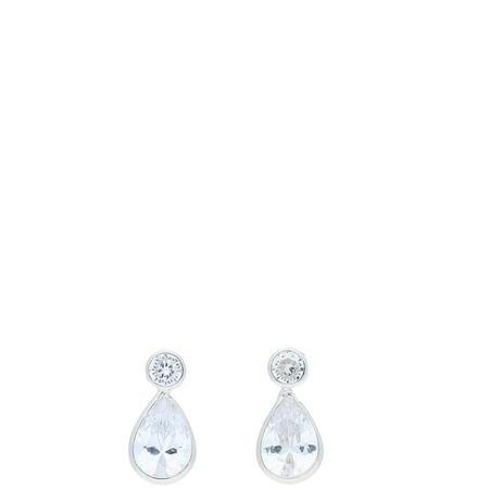 9ct White Gold CZ Drop Earrings