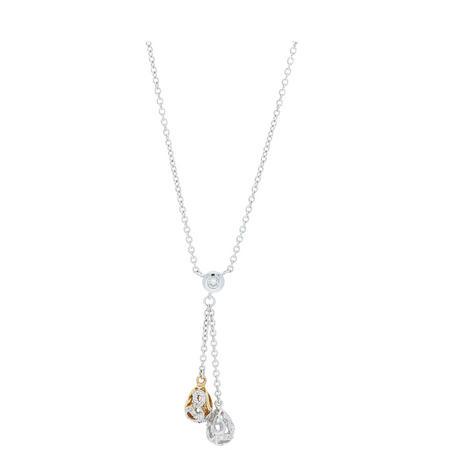 18ct Two-Tone Gold Diamond Set Drop Neck Chain