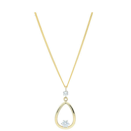9ct Gold CZ Set Pendant and Chain