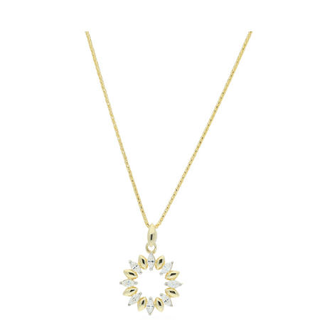 9ct Gold CZ Pendant and Chain