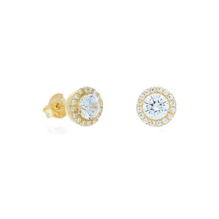 9ct Gold Cz Cluster Earrings