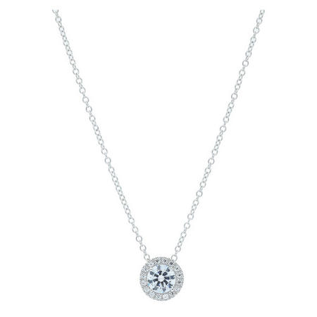 9ct White Gold CZ Cluster Pendant And Chain