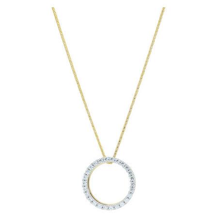9ct Gold Cz Circle Pendant & Chain