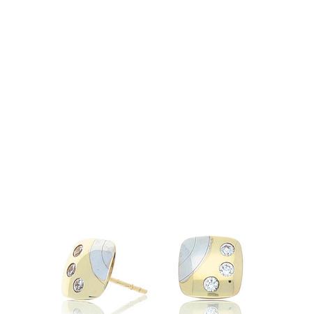 9ct 2-Tone Gold Stone Set Earrings Gold