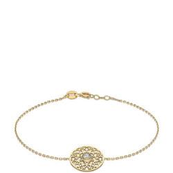 9ct Gold CZ Set Disc Bracelet
