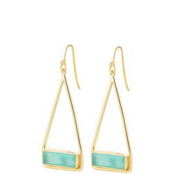 Manhattan Swing Earrings In Gold And Aqua Chalcedony