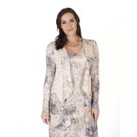 Lace Trim Printed Crush Pleat Shrug Apricot
