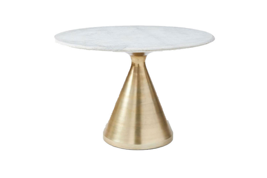 Silhouette 112 Round Dining Table Marble Top And Antique Brass