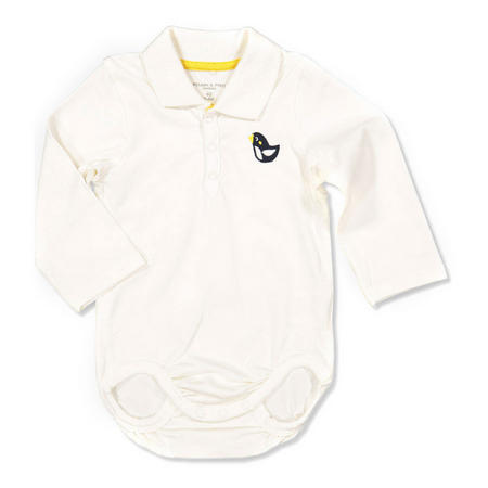 Babies Embroidered Bird Bodysuit White