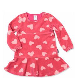 Girls Heart Print Dress Pink