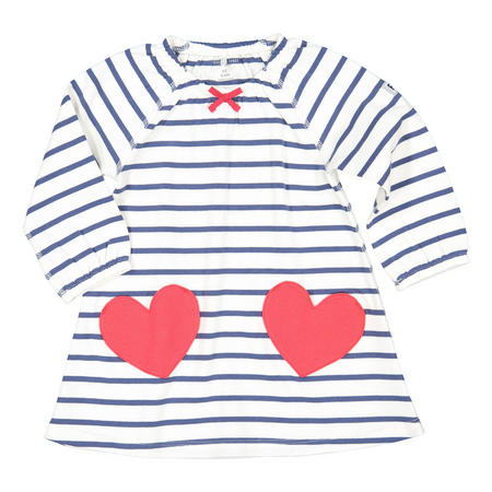 Baby Girls Heart Pocket Dress White