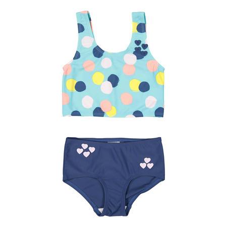 Girls Polka Dot Print Tankini Blue