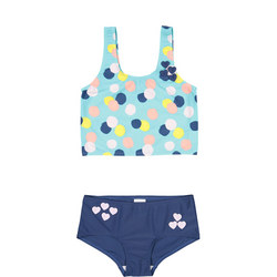 Girls Polka Dot Print Tankini Blue