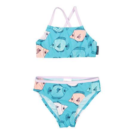 Girls Fish Print Bikini Blue
