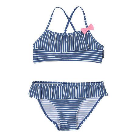 Girls Striped Bikini Blue