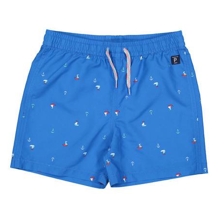 Boys Sail Boat Print Swim Shorts Blue