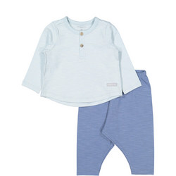 Baby Cotton Top and Trouser Set Blue