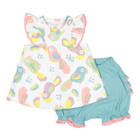 Baby Girls Parrot Print Dress and Shorts Set White
