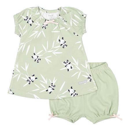 Baby Girls Panda Print Dress and Shorts Set Green
