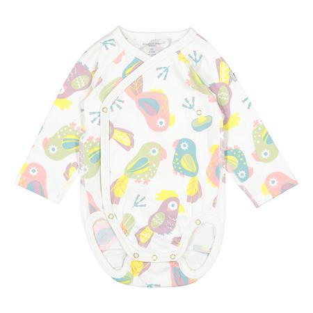 Babies Parrot Print Bodysuit White