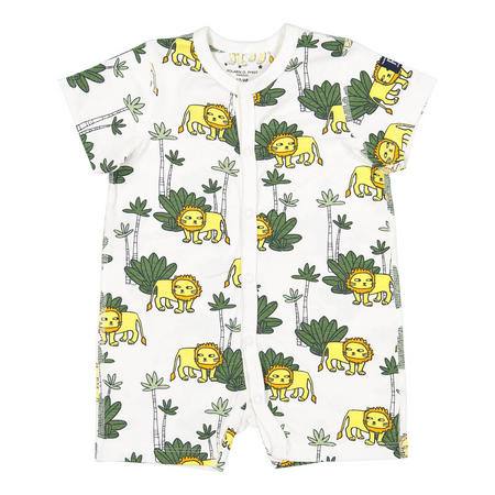 Babies Lion Print All-in-one Pyjamas White
