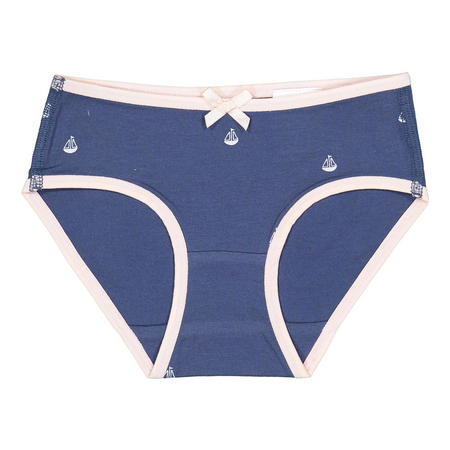 Girls Sailboat Print Briefs Blue