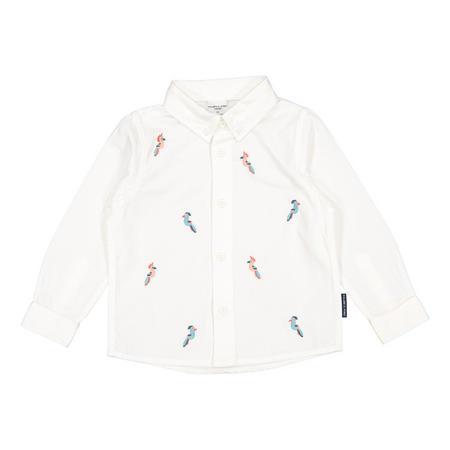 Baby Boys Linen Parrot Shirt White