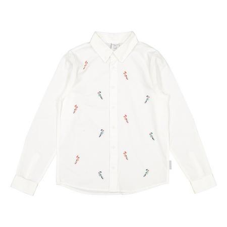 Boys Linen Parrot Shirt White
