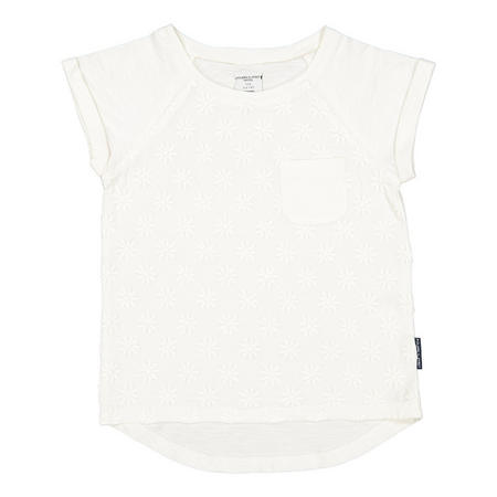 Girls Daisy Embroidered Top White