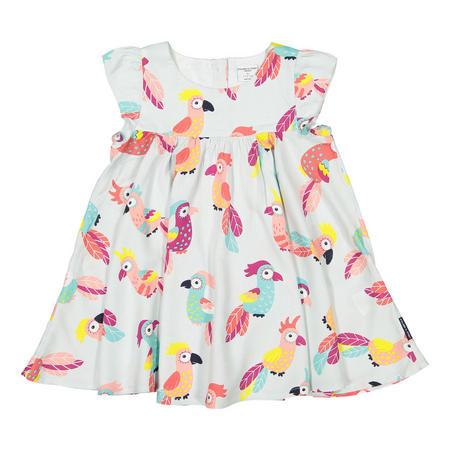 Baby Girls Parrot Print Dress Green