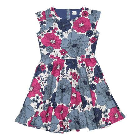 Girls Floral Print Dress Blue