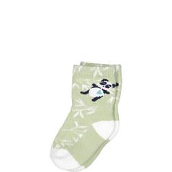 Babies Panda Print Socks Green