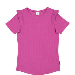Girls Frill Detail T-Shirt Purple