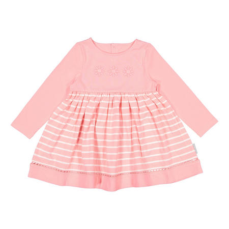 Girls Embroidered Flower Dress Pink