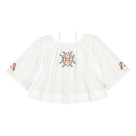Girls Scandi Embroidered Top White