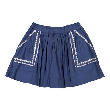 Girls Scandi Embroidered Skirt Blue