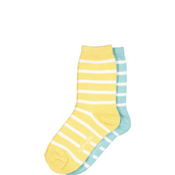 Kids Two Pack Striped Socks