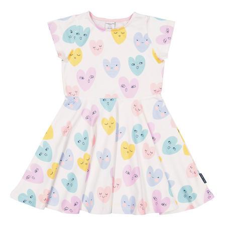 Girls Heart Print Dress