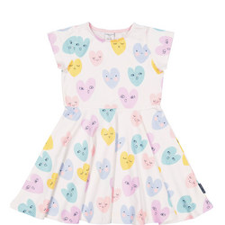 Girls Heart Print Dress