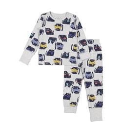 Kids Organic Pyjamas with Cat Print