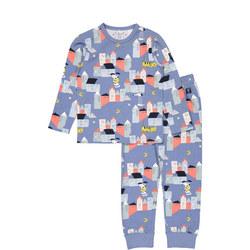 Kids Organic Pyjamas with Sleepy Town Print