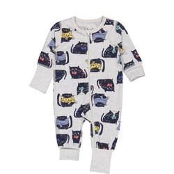 Kids Cat Print Onesie Pyjamas