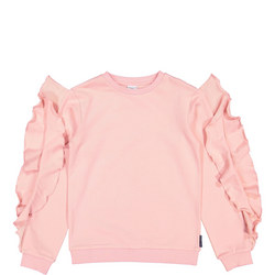 Girls Ruffle Sleeve Sweatshirt