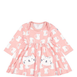 Babies Cat Print Dress With Pockets
