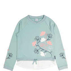 Girls Sweat Top with Embroidered Flowers