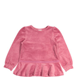 Girls Pink Velour Top
