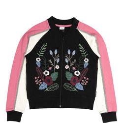 Girls Floral Baseball Jacket