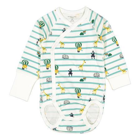 Babies Striped and Animals Print Wraparound Bodysuit